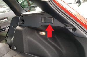 カローラツーリングの後席操作スイッチ